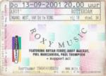 Roxy Music 13-09-2001 concertkaartje (apoplife.nl)