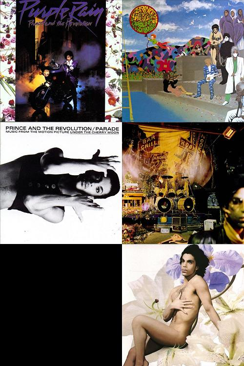 Purple Rain (1984) / Around The World In A Day (1985) / Parade (1986) / Sign O' The Times (1987) / The Black Album (1987-1994) / Lovesexy (1988)