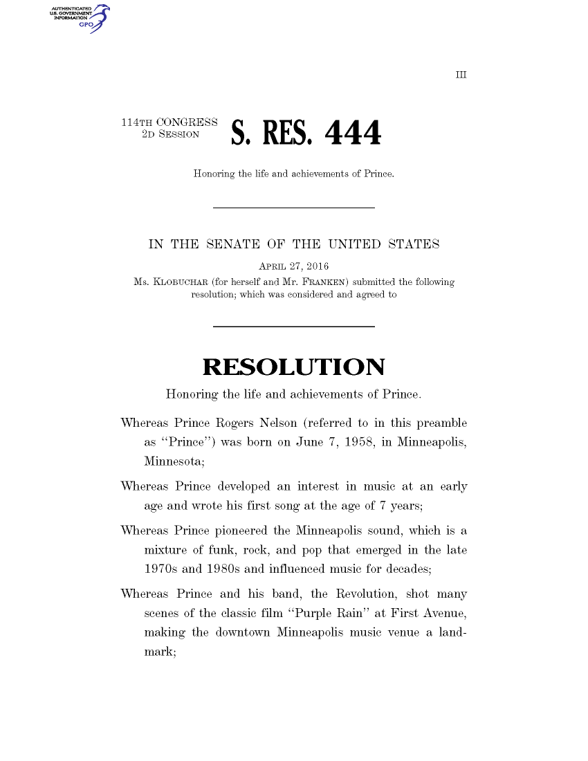 Prince Senate Resolution 04/27/2016, page 1 (congress.gov)