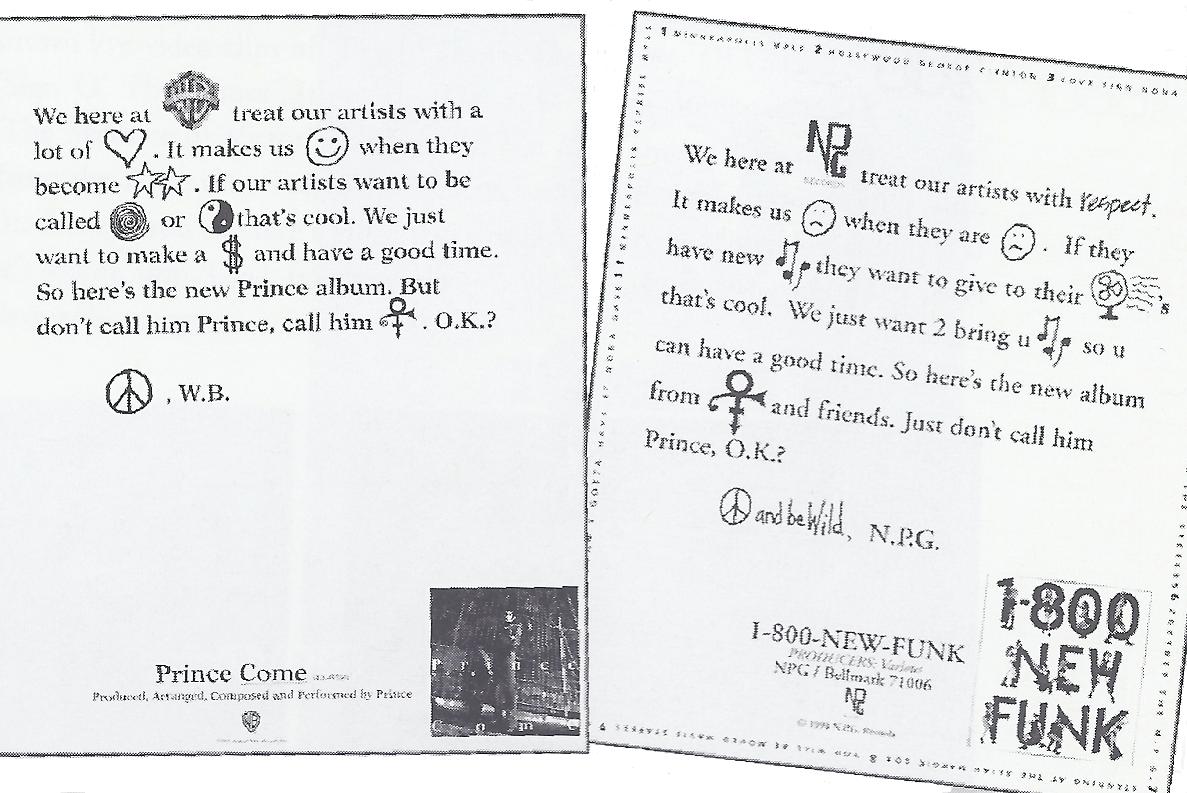 Warner Bros. reclametekst en reactie van Prince daarop; het publiek volgde het niet meer en de carrière van Prince leed daaronder