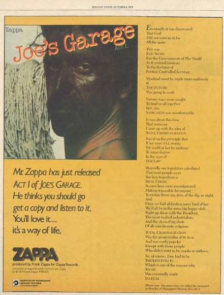 Zappa Joe's Garage Act I ad 04-10-1979 (rollingstone.com)