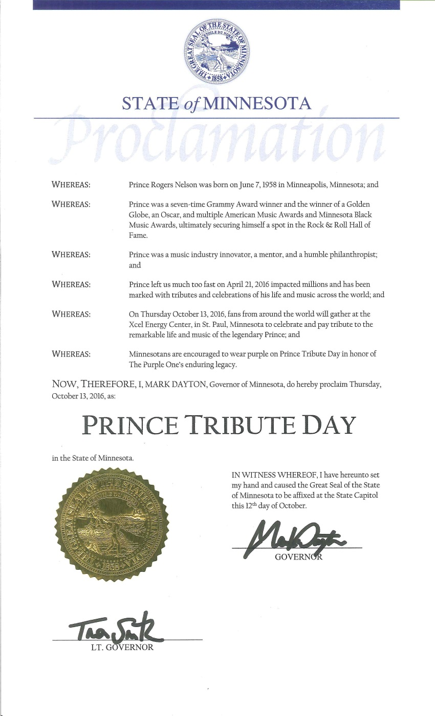 State of Minnesota Proclamation: Prince Tribute Day on 13th of October 2016 (mn.gov)
