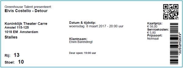 Elvis Costello, 08-03-2017, concertkaartje (apoplife.nl)