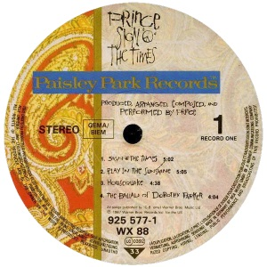 Prince - Sign O' The Times label (recordpusher.com)