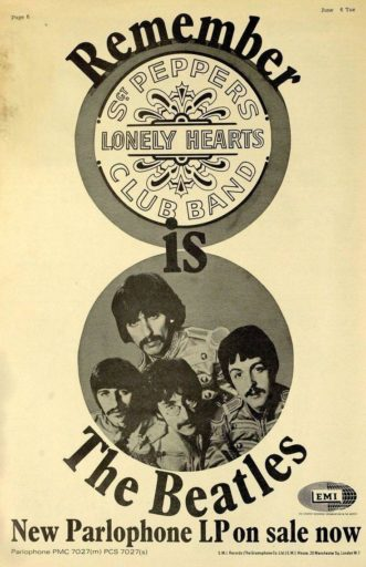 The Beatles - Sgt Pepper's Lonely Hearts Club Band - Advertentie (pinterest.com)