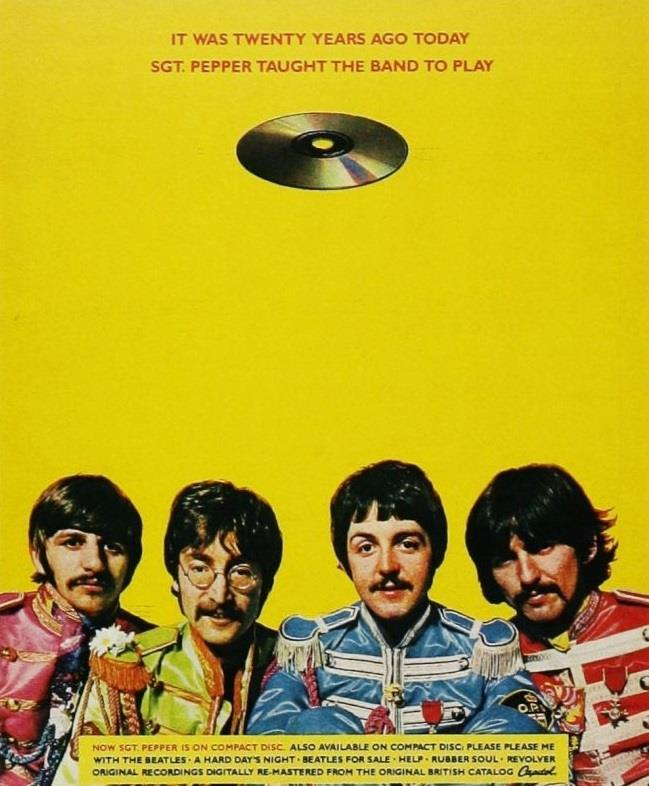 The Beatles - Sgt Pepper's Lonely Hearts Club Band - CD release - Advertentie (pinterest.com)