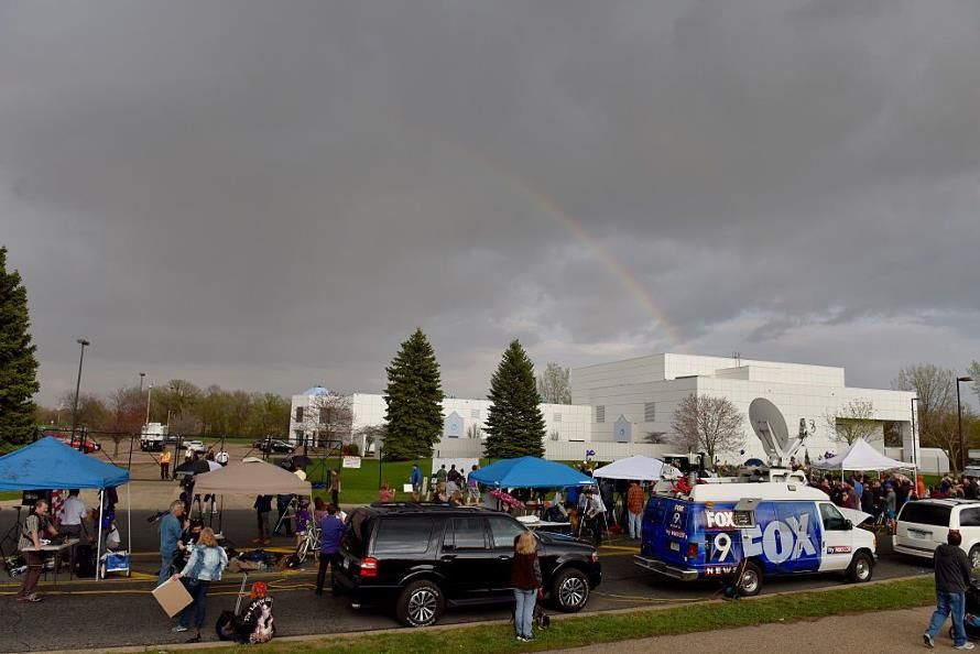 Rainbow over Paisley Park just after the announcement of Prince's passing (Getty Images)