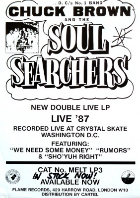 Chuck Brown & The Soul Searchers - Live '87 advertentie (discogs.com)