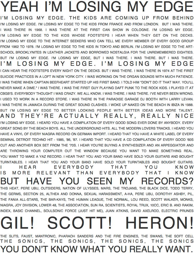 LCD Soundsystem - Losing My Edge - Lyrics (tumblr.com)