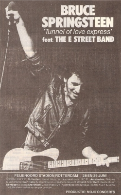 Bruce Springsteen - Tunnel Of Love Tour - Nederland advertentie (pinterest.com)