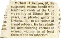 Frank Zappa - Zappa In New York - The Illinois Enema Bandit - Newspaper clipping (kompaktkiste.de)