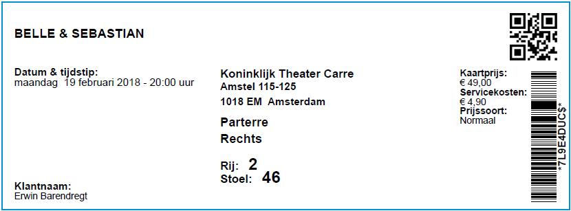 Belle & Sebastian, 19-02-2018, concertkaartje (apoplife.nl)