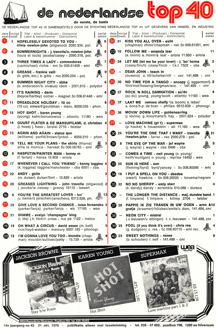 Top 40, 10/21/1978 (top40.nl)