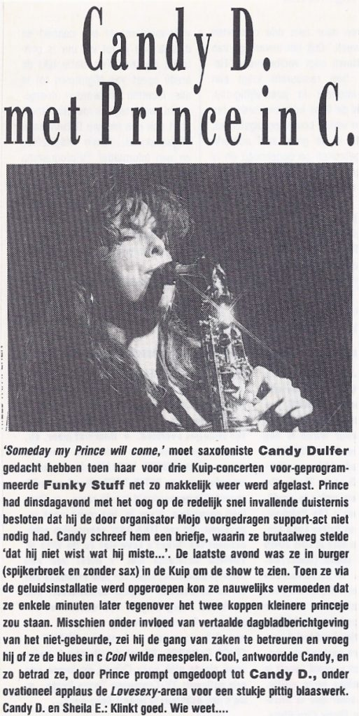 Prince - Lovesexy Tour Candy Dulfer - OOR 17 27-08-1988 (apoplife.nl)