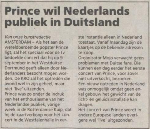 Prince - Lovesexy Tour Dortmund - Trouw 26-08-1988 (apoplife.nl)
