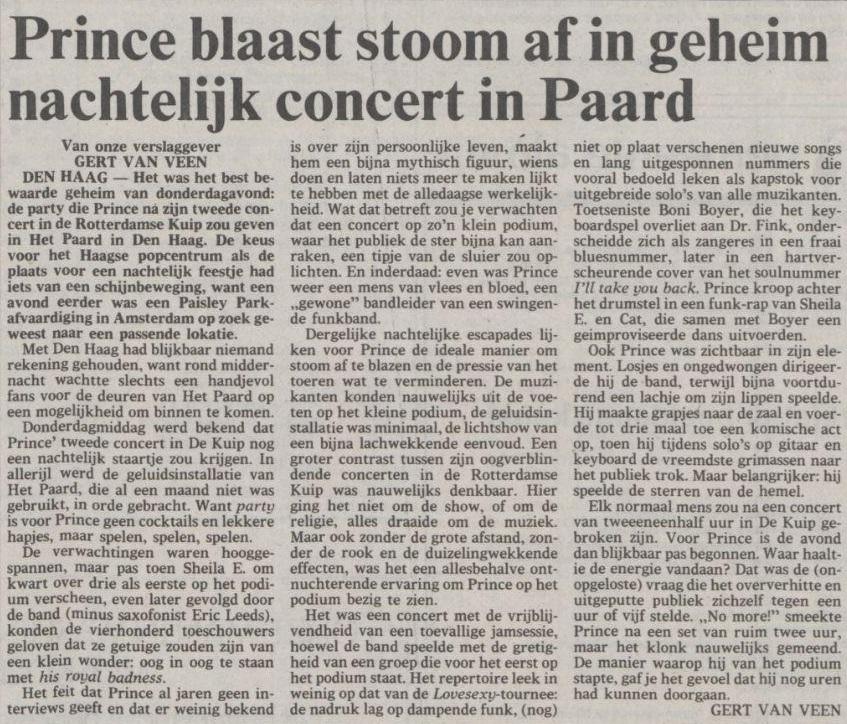 Prince - Lovesexy Tour - Paard van Troje - Volkskrant 20-08-1988 (apoplife.nl)