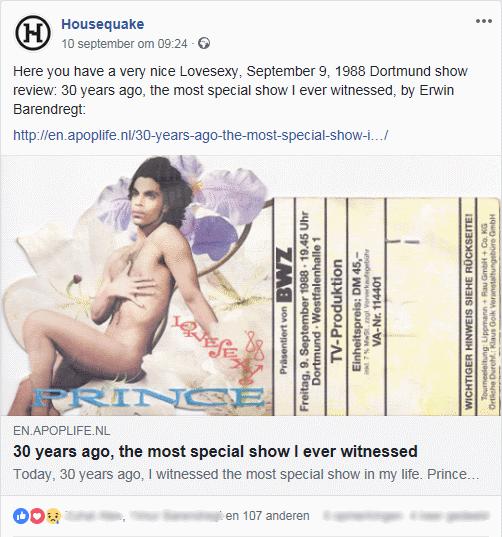 Prince - Lovesexy Tour Dortmund - Housequake share (apoplife.nl)