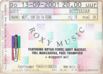 Roxy Music 09/13/2001 concert ticket (apoplife.nl)