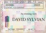 David Sylvian 10/11/2001 concert ticket (apoplife.nl)