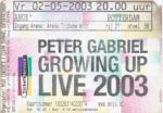 Peter Gabriel 05/02/2003 concert ticket (apoplife.nl)