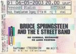 Bruce Springsteen 05/06/2003 concert ticket (apoplife.nl)