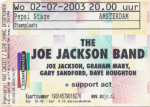 Joe Jackson 07/02/2003 concert ticket (apoplife.nl)