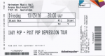 Iggy Pop 05/10/2016 concert ticket (apoplife.nl)