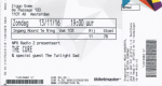 Cure 11/13/2016 concert ticket (apoplife.nl)