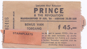 Prince & The Revolution 18-08-1986 concertticket (apoplife.nl)