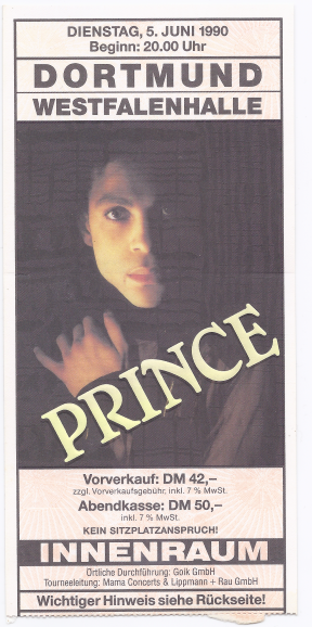 Prince 06/05/1990 -> 08/06/1990 concert ticket (apoplife.nl)
