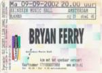 Bryan Ferry 09-09-2002 concertkaartje (apoplife.nl)