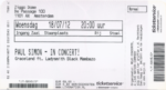Paul Simon 18-07-2012 concertkaartje (apoplife.nl)
