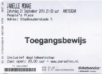 Janelle Monae 21-09-2013 concertkaartje (apoplife.nl)