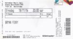 Bryan Ferry 18-11-2014 concertkaartje (apoplife.nl)