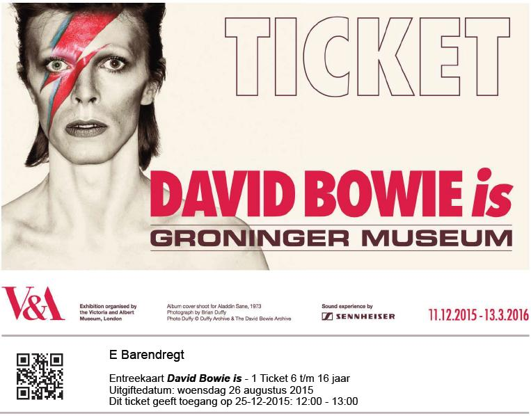 David Bowie Is 25-12-2015 toegangskaartje (apoplife.nl)