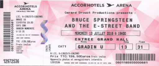 Bruce Springsteen 13-07-2016 Concertkaartje (apoplife.nl)