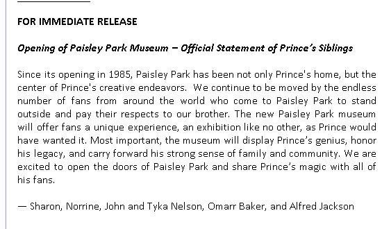 Family statement Paisley Park museum (onbekend)