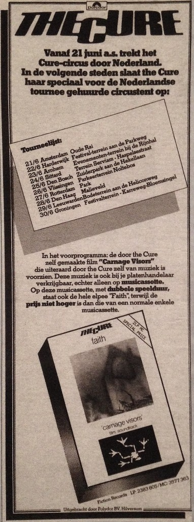 The Cure Circus tour 1981 advertentie (thecureinholland.nl)