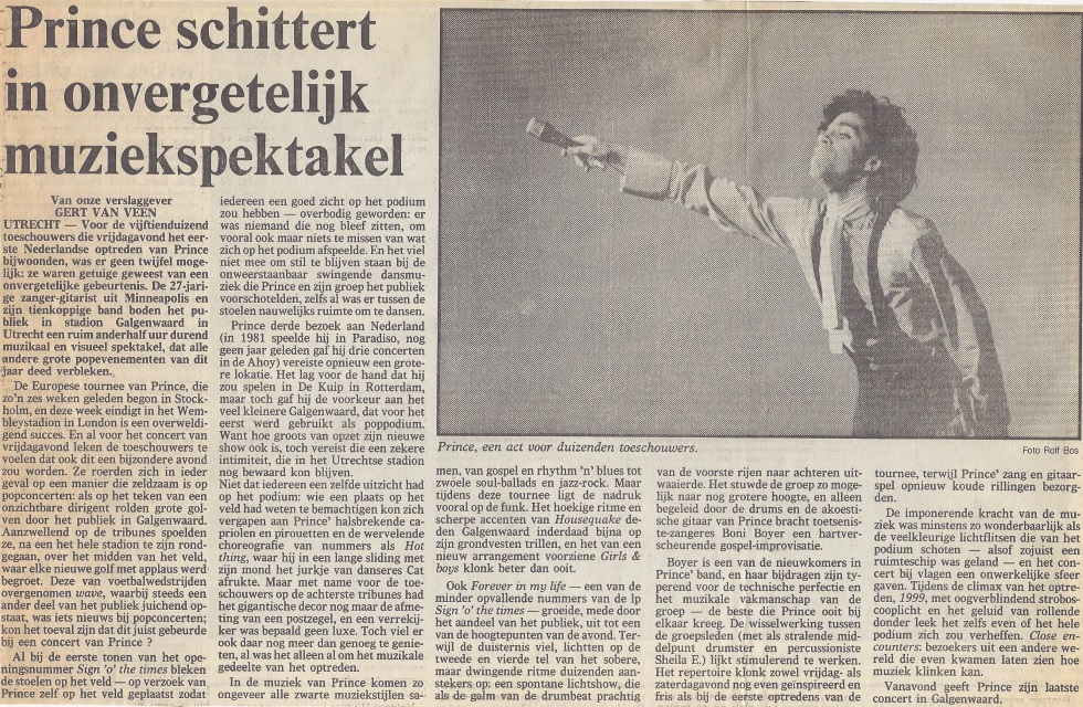 Prince - Sign O' The Times Tour recensie de Volkskrant 22-06-1987 (apoplife.nl)