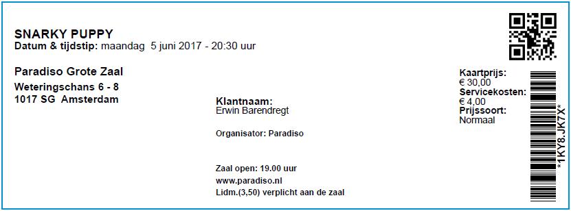 Snarky Puppy 05-06-2017 Concertkaartje (apoplife.nl)