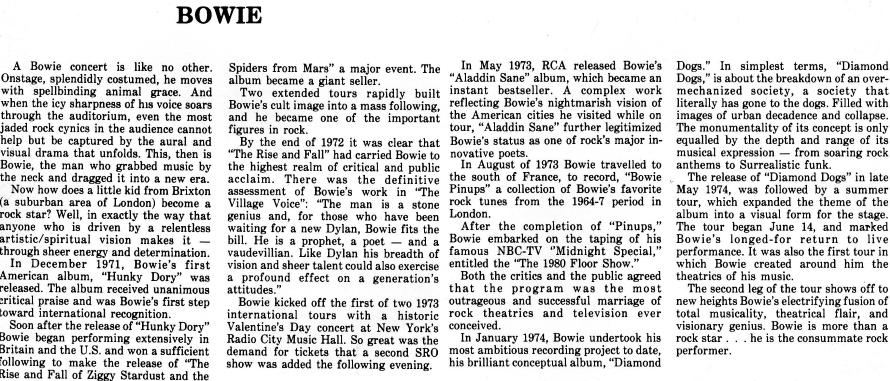 David Bowie - Los Angeles Programmaboek verhaal (archive.org)