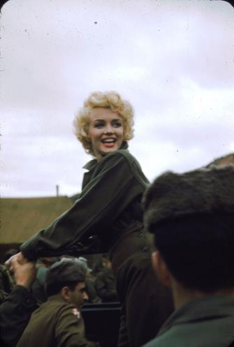Marilyn Monroe in Korea 1954 - uniform (mashable.com)