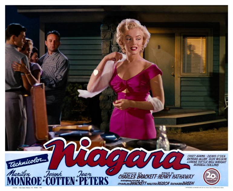 Marilyn Monroe in de film Niagara 1953 (saatchiart.com)