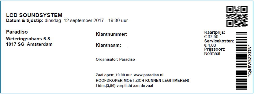 LCD Soundsystem 12-09-2017 - Concertkaartje (apoplife.nl)