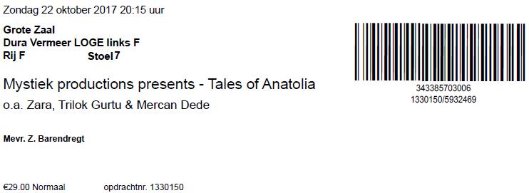 Tales Of Anatolia, 22-10-2017 (apoplife.nl)