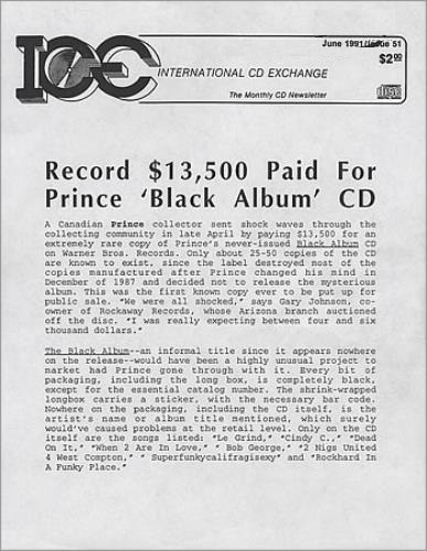 Prince - The Black Album - Original auction price (eil.com)