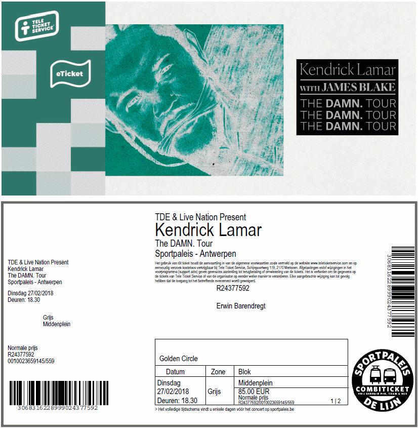 Kendrick Lamar, 27-02-2018, concertkaartje (apoplife.nl)
