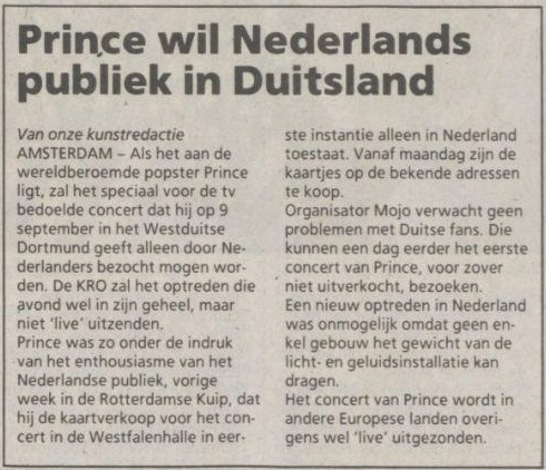 Prince - Lovesexy Tour Dortmund - Trouw 26-08-1988 (apoplife.nl)