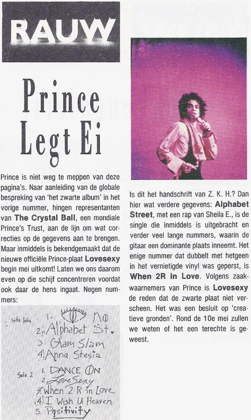 Prince - Lovesexy aankondiging OOR 8, 23-04-1988 (apoplife.nl)