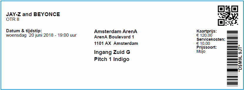 Jay-Z & Beyonce, 20-06-2018, concertkaartje (apoplife.nl)